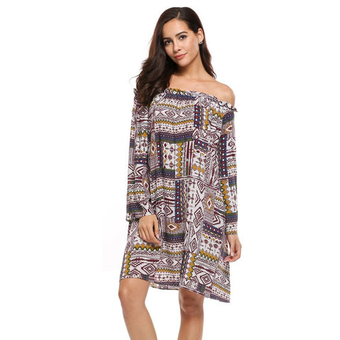 _mc Women Vintage Style Flare Sleeve Off Shoulder Geometric Shift Loose Beach Dress