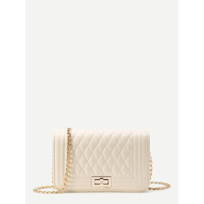 Beige Quilted Flap Crossbody Bag With Chain - Fashiontage