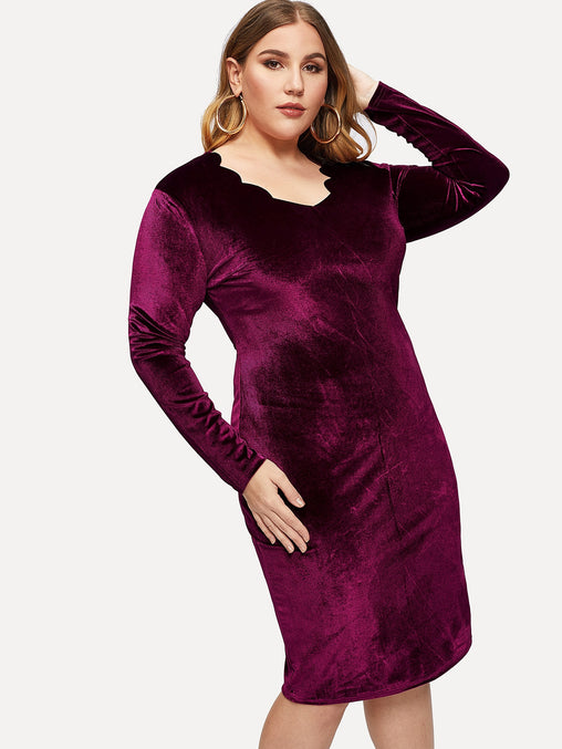 Plus Size Purple Scalloped Neck Midi Dress
