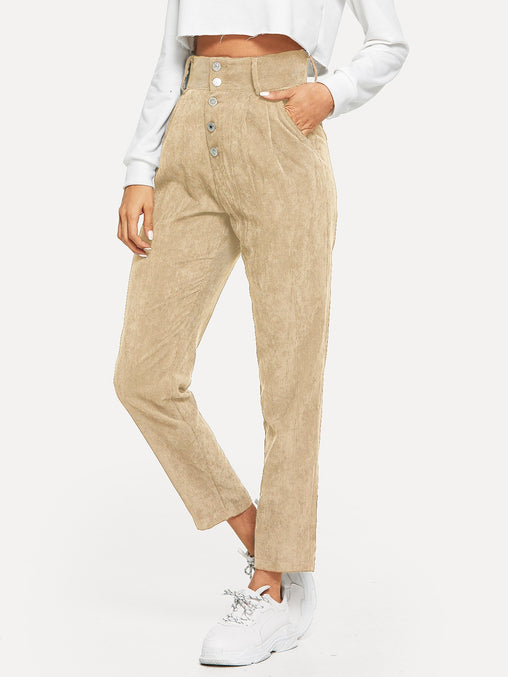 Apricot Button Fly Slant Pocket Corduroy Pants