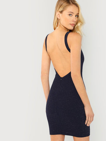 Day Dresses - Women's Trendy Black Open Back Form Fitting Dress