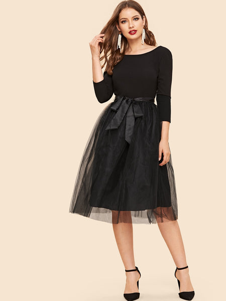 Black Bow Tie Waist Mesh Midi Dress
