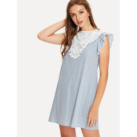 Blue Contrast Lace Applique Ruffle Pinstriped Dress