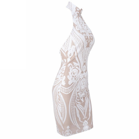 Day Dresses - Women's Trendy White Sequin Party Dress