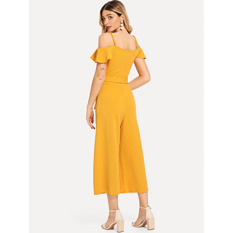 Jumpsuits - Women's Trendy Yellow Ruffle Detail Cami Jumpsuit
