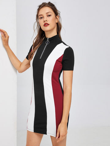 Casual Dresses - Women's Trendy Zip Front Color Block Dress