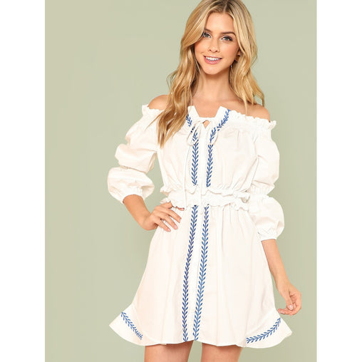 Beige Off Shoulder Lantern Sleeve Embroidered Bardot Dress