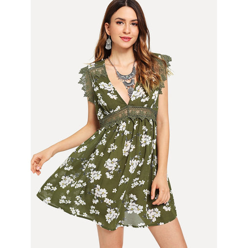 Army Green Guipure Lace Trim Floral Print Swing Dress