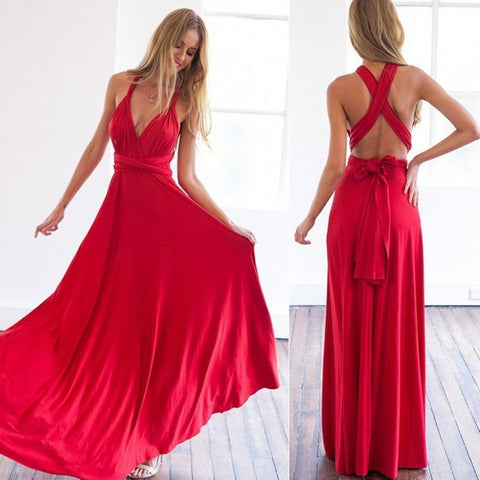 Red Long Plain Party Dress