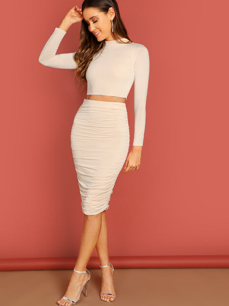 Neutral High Neck Stretch Crop Top And Skirt Set