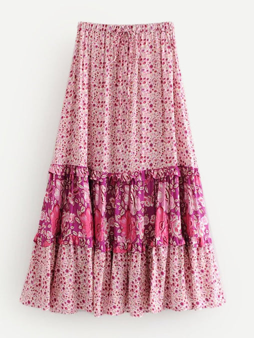 Calico Print Frill Trim Skirt
