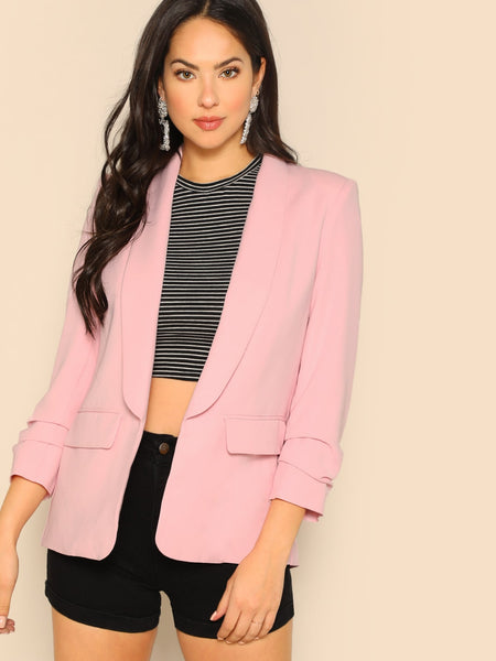 Pink Shawl Collar Open Front Solid Blazer