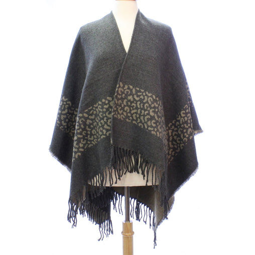 Womens Gray Animal Print Blanket Poncho With Fringe