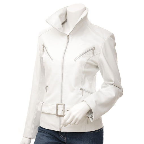 Plus Size White Leather Jacket