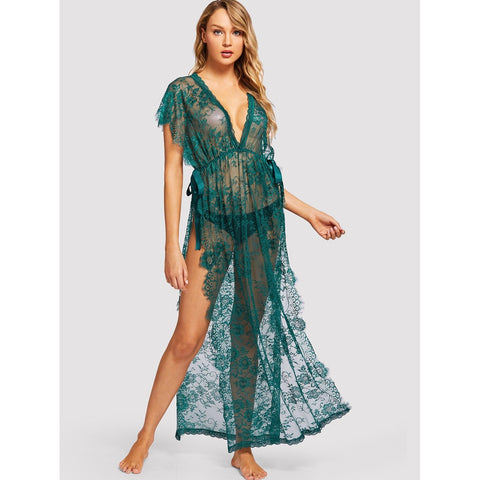 Bras - Women's Trendy Green Floral Print Lace High Split Dress With Thong