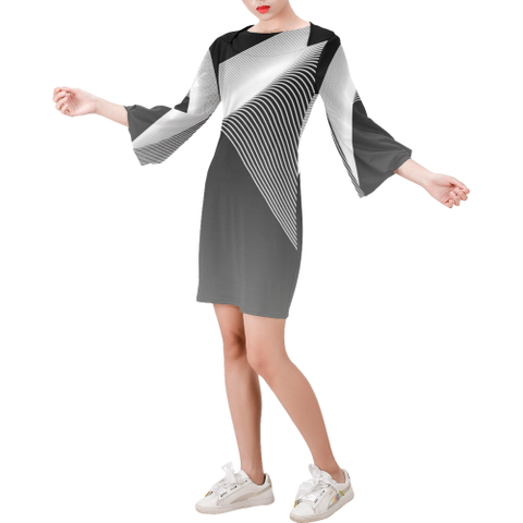 Day Dresses - Women's Trendy Black And White Round Neck Bell Sleeve Shift Dress