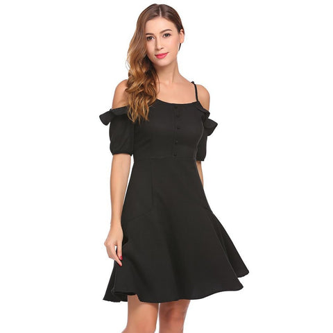 Day Dresses - Women's Trendy Black Collar Half Sleeve Party Dress