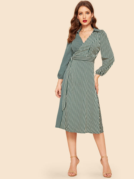 Stripe & Polka Dot Print Wrap Long Dress