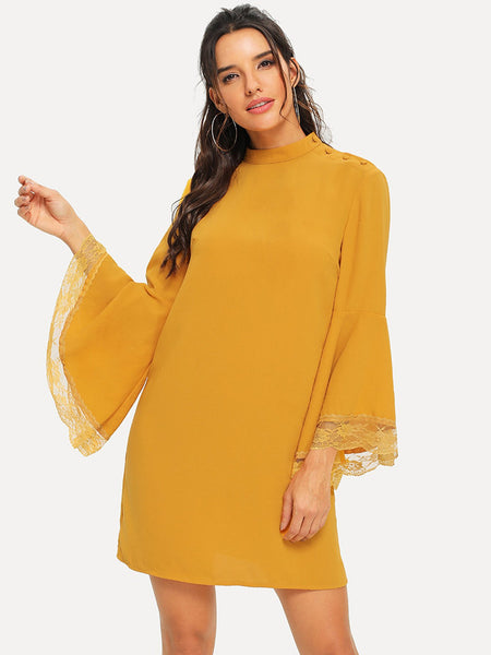 Lace Contrast Bell Sleeve Solid Dress