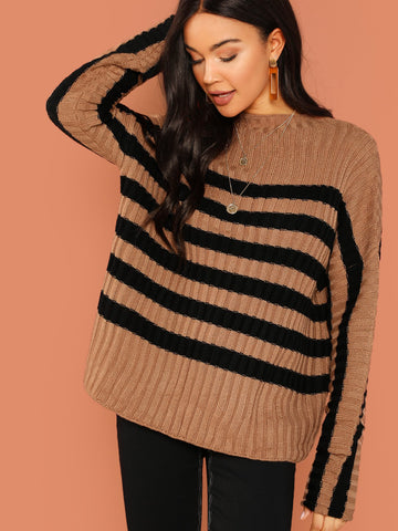Blouses - Women's Trendy Camel Striped Rib Knit Pullover Sweater