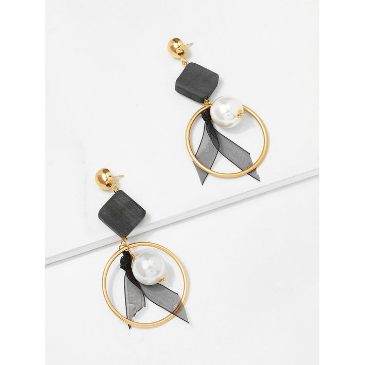 Black And White Square Decorated Hoop Drop Earrings