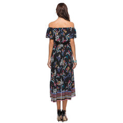 Black Off Shoulder Floral Print A Line Dress