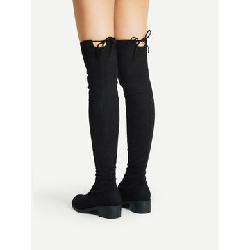 Lace Up Detail Block Thigh High Heeled Boots - Fashiontage