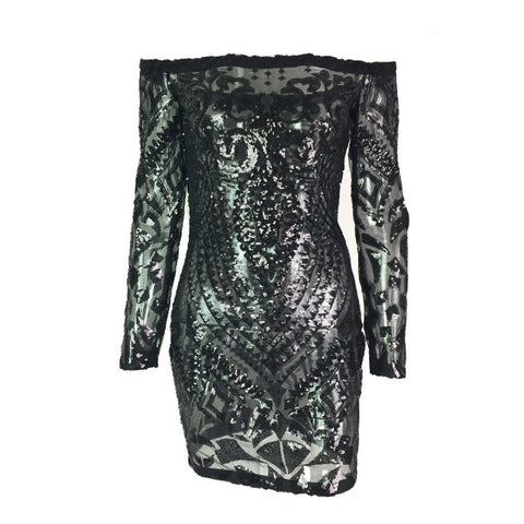 Day Dresses - Women's Trendy Black Off Shoulder Sequin Party Dress