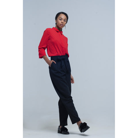 Cropped Pants - Women's Trendy Black High Waist Trouser