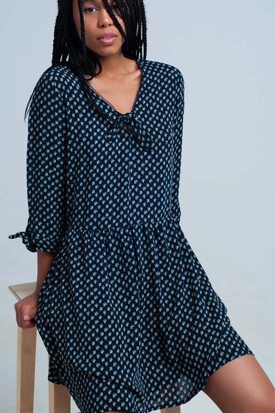 Blue Tie Neck Sleeves Dress