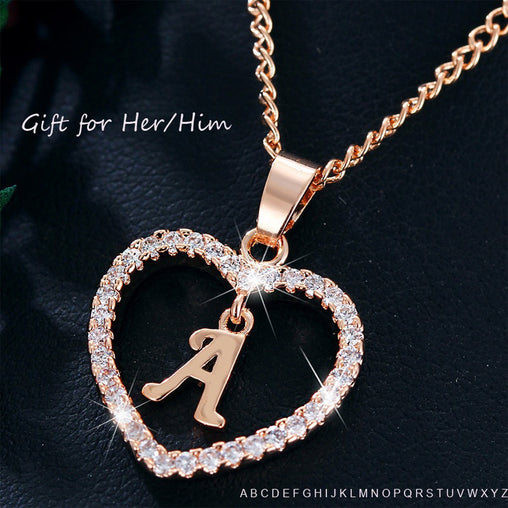 Alphabet Crystal Chain Heart Necklace