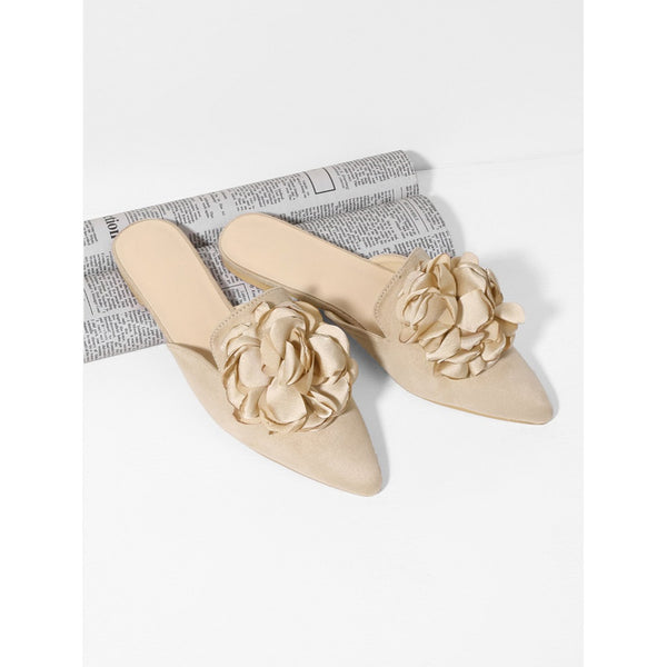 - Women's Trendy Apricot Pointed Toe Flower Applique Mules