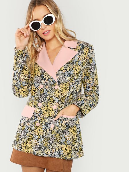Multicolor Botanical Embroidered Double Breasted Blazer
