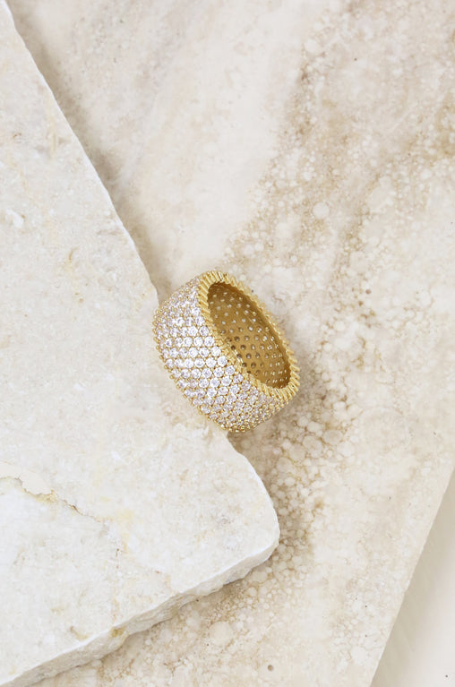 Thick Crystal Band Ring in Gold
