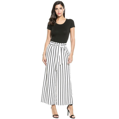 Cropped Pants - Women's Trendy Black Silk Striped Sleepwear