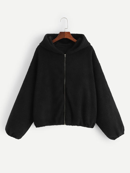 Black Zip Up Teddy Hoodie