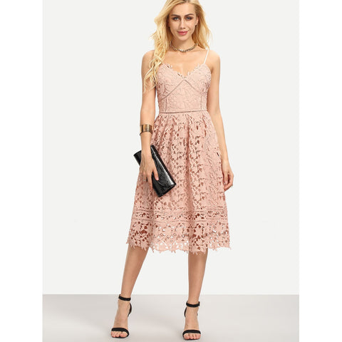 Pink And Pastel V-Neck Sleeveless Lace Flare Dress