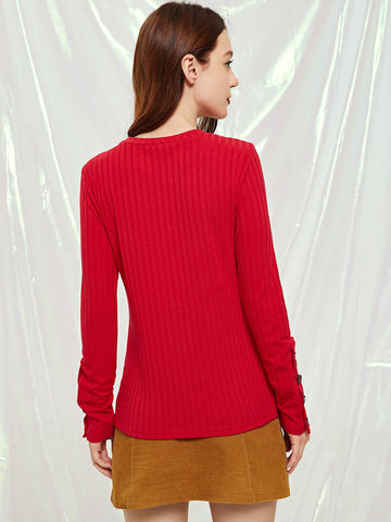 Sweatshirts - Women's Trendy Red Buttoned Cuff Rib Knit T-Shirt