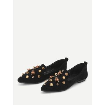 Faux Pearl Decorated Pointed Toe Flats - Fashiontage
