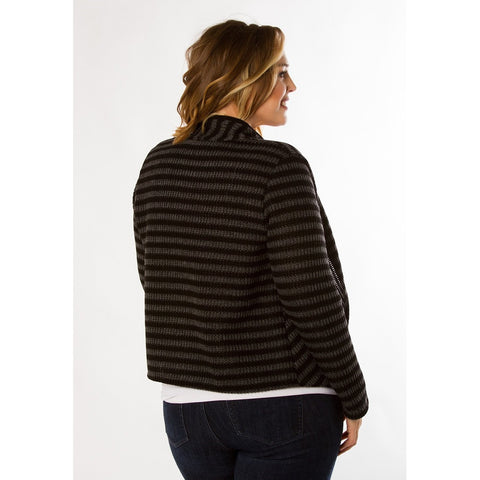 Plus Size Black Collar Striped Jacket