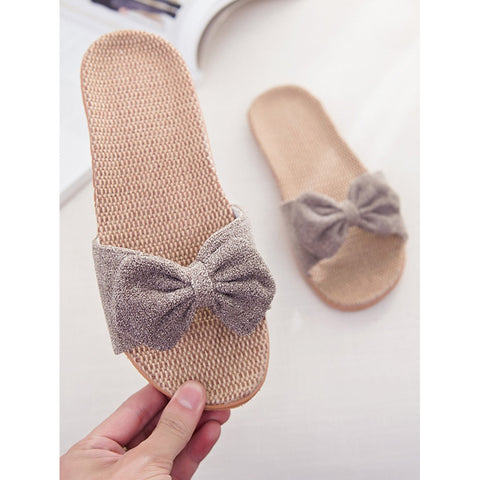 Beige Bow Casual Slippers