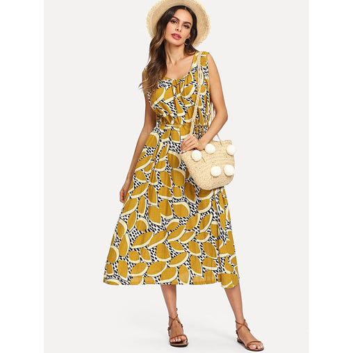 Yellow Sleeveless Graphic Print Trapeze Dress