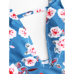 Multicolor Flower Print Swimsuit - Fashiontage