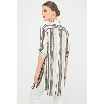 Black And White Sleeves A Line Top - Fashiontage