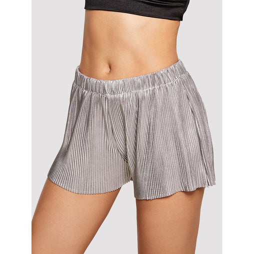 Silver Mid Waist Pleated Shorts - Fashiontage