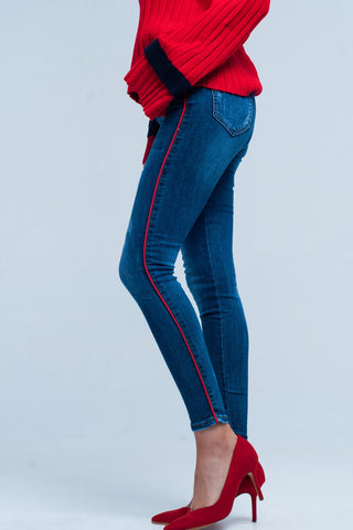 Skinny Jeans - Women's Trendy Blue Skinny Jeans With Red Side Striped
