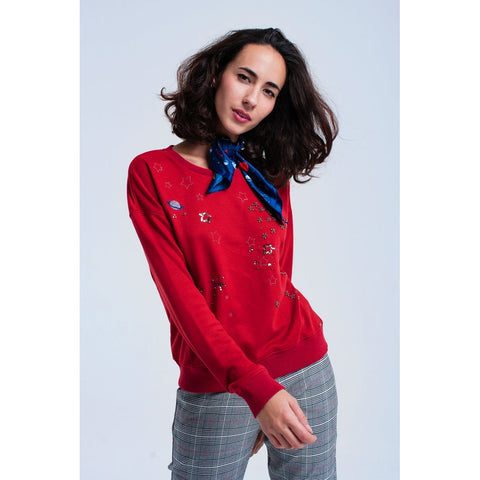 Red Crew Neck Long Sleeve Sweatshirt