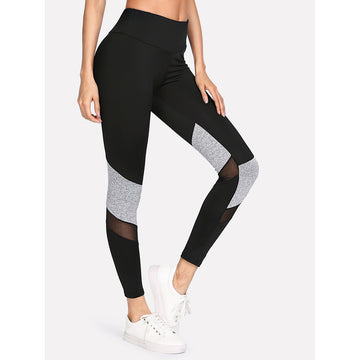 Contrast Marled Mesh Insert Leggings - Fashiontage