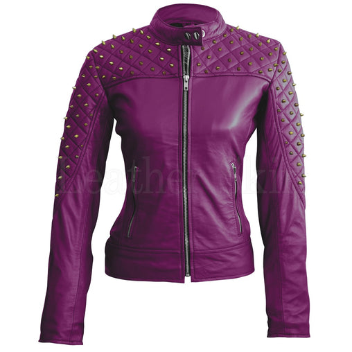 Plus Size Purple Leather Jacket