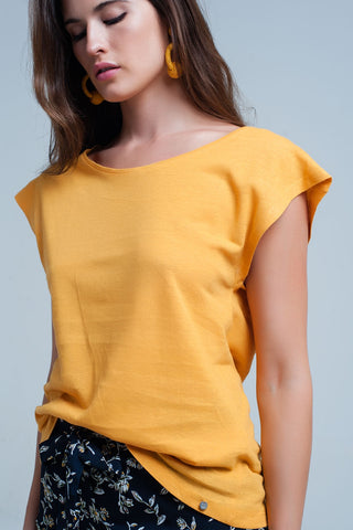 Tops - Women's Trendy Yellow Scoop Neck T Shirt